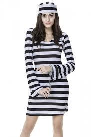 prisoner costume womens striped sleeve prisoner costume black pink