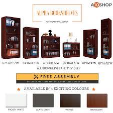 buy alpha bookshelf u0026 storage cabinet with 4 shelf 67