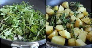 cuisiner le pissenlit poêlée de pommes de terre ratte du touquet aux feuilles de