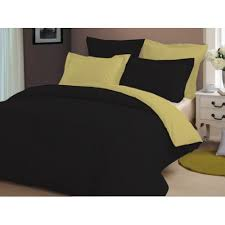egyptian cotton black gold reversible duvet cover set 1000tc