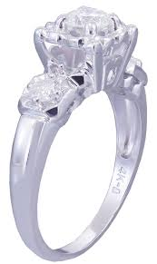 14k white gold round cut diamond engagement ring art deco antique