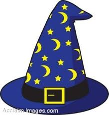 royalty free clipart illustration of a wizard s hat with stars