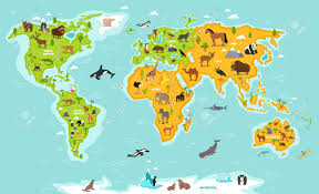 World Map With Antarctica by World Map With Wildlife Animals Vector Illustration Animals