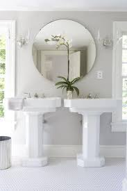 bathrooms gray bathroom double white pedestal sinks round