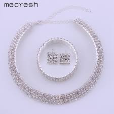 rhinestone necklace sets images Luxury crystal bridal jewelry sets silver plated with rhinestone jpeg