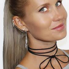 cuff earrings bodyj4you cuff earrings with chain stainless steel ear cuffs 3