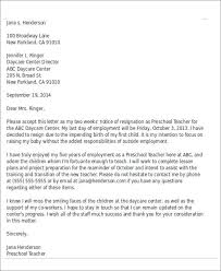 sample child care resignation letter 5 examples in pdf word