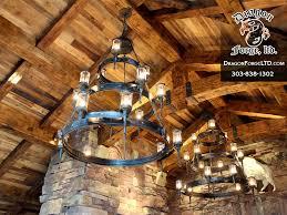 Great Room Chandeliers Lighting Dragon Forge Colorado Blacksmith Custom Hand Forged