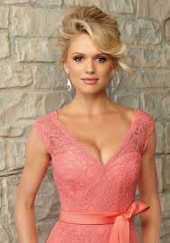 romantic lace morilee bridesmaid dress with matching satin tie