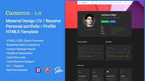 Html5 Resume Cameron Material Cv Resume Vcard Html Template Themes