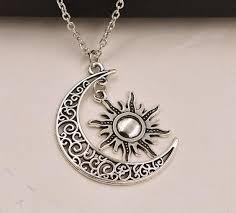 choker necklace charms images Online shop crescent moon sun necklace pendant vintage silver jpg