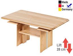 Wohnzimmertisch Lift Couchtisch Jette 120x70x55 Cm Höhenverstellbar Eiche Massiv Tisch
