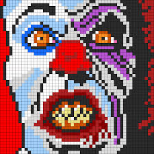 pennywise the clown from it for perler or square stitch bead
