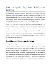 how to spend gap year holidays to luxurytravelvietnam