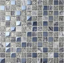grey marble stone mosaic kitchen backsplash wall tile sgmt164