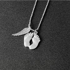 footprint necklace personalized angel wing baby footprint necklace women children paws silver