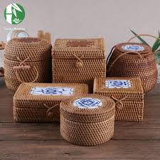 wholesale rattan storage boxes hand woven jewelry box with lid