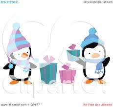 cartoon of cute christmas penguins with gift boxes royalty free