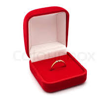 box for jeweller ornaments and a gold ring with brilliants