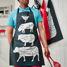 Men Cooking Aprons Butcher Meat Cuts Kitchen Apron Foodie Gift Chef Apron