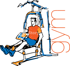 sketch of man using pulldown machine in gym vector illustration