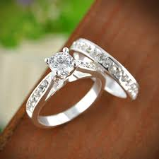 crystal fashion rings images 2pcs set charm lovers ring femme fashion jewelry silver crystal jpg