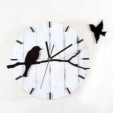 online shop retro wood wall clock pastoral lovely birds home decor