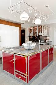 home accessories cool kitchen island ideas with red island and cool kitchen island ideas with red island and stainless steel countertops plus hanging pot rack and utility pendant lighting also glass front cabinets and