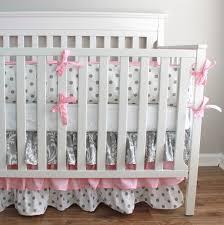 Damask Crib Bedding Sets Pink And Gray Damask Crib Bedding Set With 3 Tiered Skirt