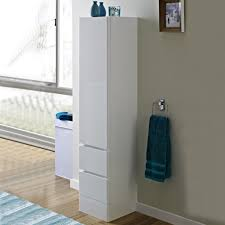 tall bathroom storage cabinet with laundry bin benevola
