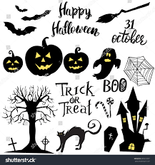 set halloween elements symbols quotes stock vector 691013077