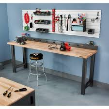 6 ft 9 outlet workbench power strip with tool caddy extensions in