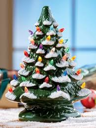 ceramic tree with colorful plastic bulbs