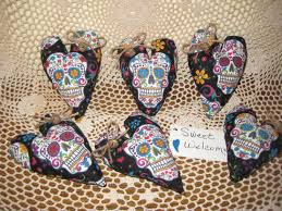 fabric sugar skull ornaments day of the dead my sugar skulls
