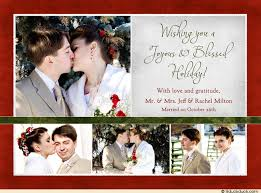 blessed holiday photo collage card 2017 newlyweds wedding