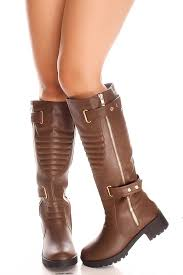 s boots knee high brown brown knee high faux leather side zipper small heel s boots