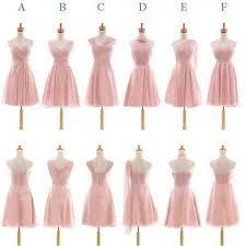 Light Pink Short Bridesmaid Dresses Pretty Chiffon Mismatched Different Styles Blush Pink Knee Length