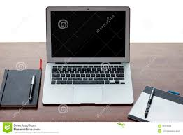 still life of working desk with electronics stock photo image