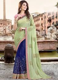 buy royal blue n pista green half n half saree half n half saree