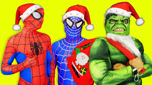Halloween Chocolate Gifts Santa Hulk And Spiderman Giving Chocolate Gifts For Kids Youtube