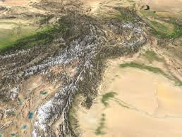 Hindu Kush Map Satellite Image Of Kunlun Shan Range With Taklamakan Desert