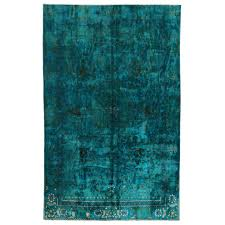 Hand Knotted Rugs India Silk And Cotton Indian Rug In Teal Blue Color For Sale At 1stdibs