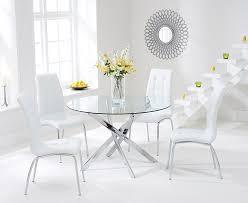 chrome round dining table daytona 110cm glass chrome round dining table with 4 ivory