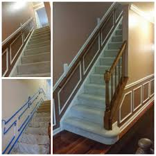 before and after stairway and hallway multi color painting of
