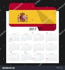 Best National Flags Calendar Grid 2017 Spain Flag On Stock Vector 529434604 Shutterstock