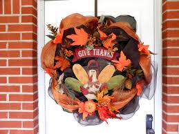 front door fall autumn give thanks wreath bethlehem lights