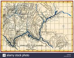Grand Canyon On A Map Map Of The Grand Canyon Drawn By The Powell Expedition 1870s