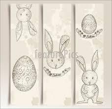 rabbit banner holidays vintage easter bunny banner set stock illustration