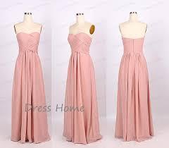 blush pink sweetheart long chiffon bridesmaid dress simple long