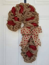 burlap candy cane accented with just a touch of red burlap red
